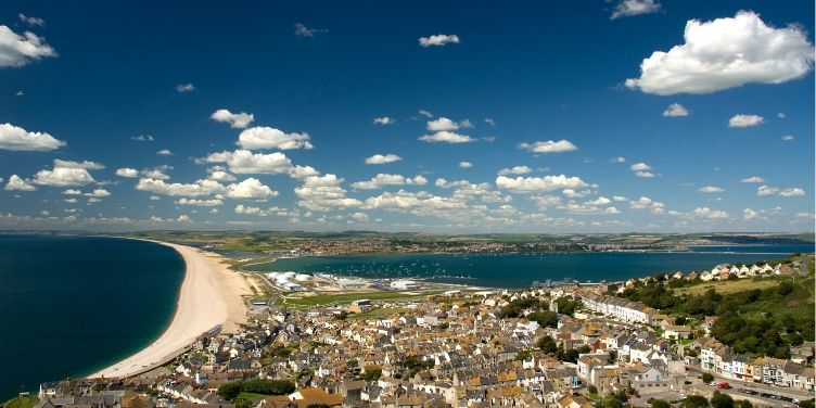 Aerial view of Chesil Beach, Dorset