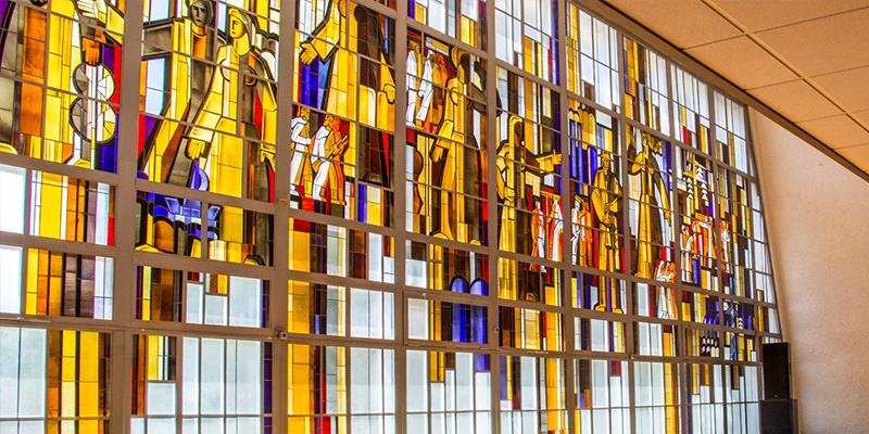Stained glass window, Lithuania, inside the Birštonas House of Culture in in Birštonas in Lithuania