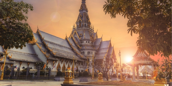 Thailand Temple at Sunset