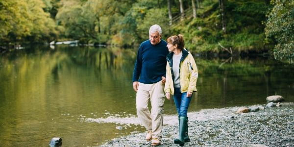 senior couple walking in the lake district