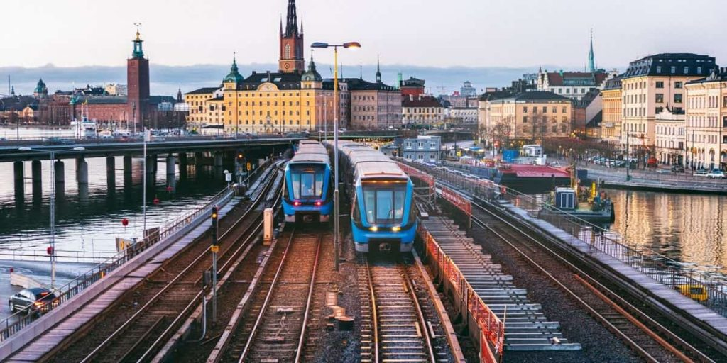 travelling by train in stockholm