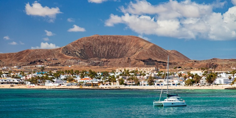 an image of the town of Corralejo, Fuerteventura from the sea