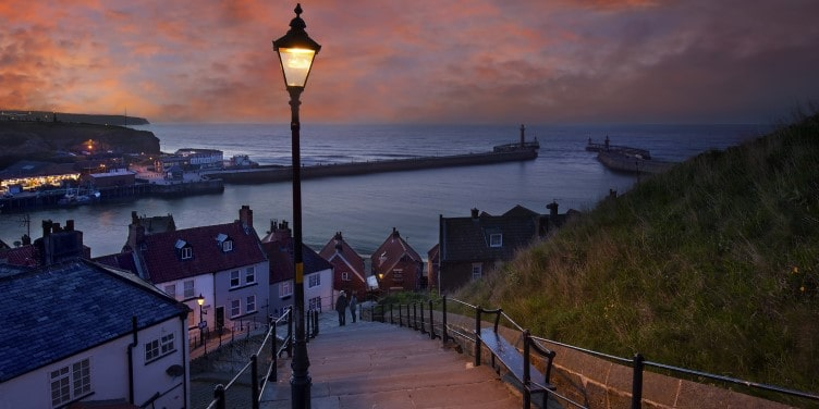 Seaside town of Whitby at dusk