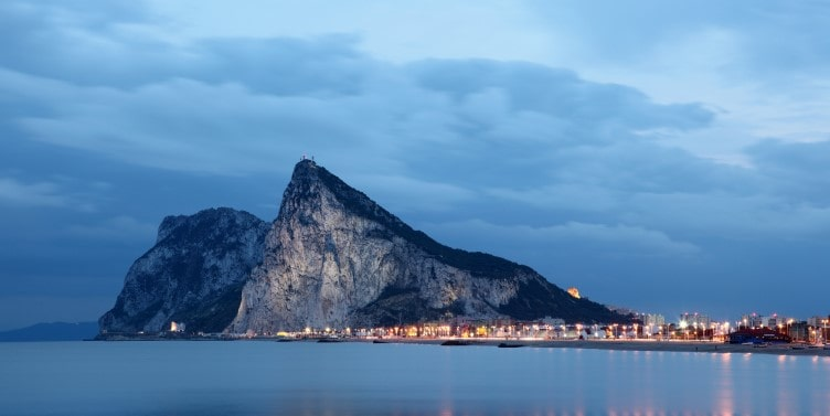 View of Gibraltar at dusk