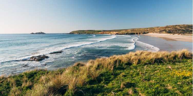 an image of Godrevy beach, near St Ives in Cornwall