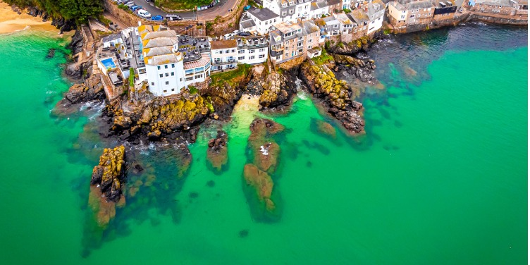 an image of St Ives from above the sea
