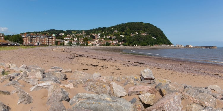 Beach and seafront in Minehead Somerset