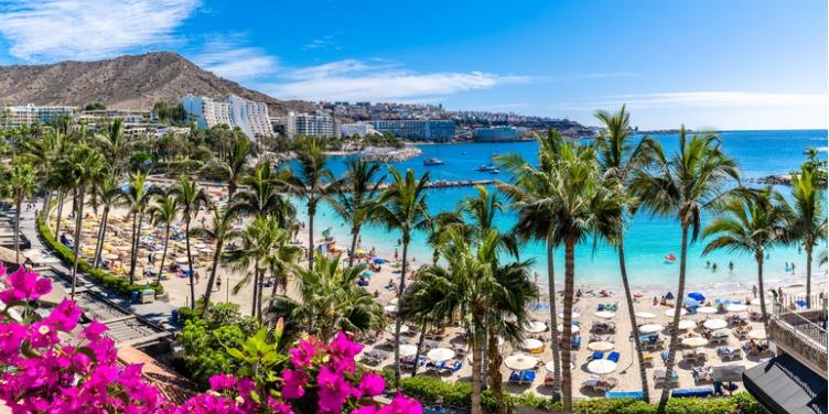 View of Anfi beach and resort in Gran Canaria, Spain