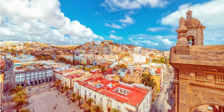 View over the historic old town, town hall, cathedral and town square of Old Las Palmas in Gran Canaria