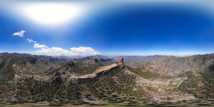 360 degree aerial shot of Nublo Rock in caldera of Tejeda, Gran Canaria