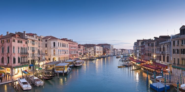 View of the Grand canal in Venice from Rialto Bridge